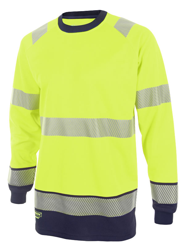 HIVIS TWO TONE LONG SLEEVE T SHIRT - HVTT005SYN
